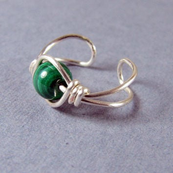 Ear Cuff  Green Malachite and Sterling Silver