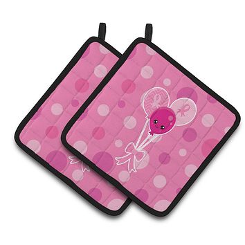 Breast Cancer Awareness Ribbon Balloons Pair of Pot Holders BB6979PTHD