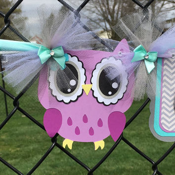 Owl baby shower, birthday, name banner, teal, purple and yellow, table banner