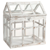 "17"" Weathered Greenhouse, White, Terrariums"
