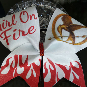 Girl On Fire Cheer Bow