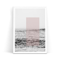 ocean decor, ocean art, sea print, ocean print, pink, ocean photography, landscape photo, graphic print, wall art, room print, B&W, wievs