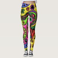 Cartoon doodle dripping paint abstract leggings