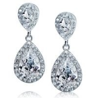 Mothers Day Jewelry Pave CZ Teardrop Dangle Earrings Rhodium Plated