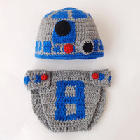 R2D2 Hat And Diaper Cover From Star Wars For Girl /Boy Premie, Newborn, Child, Teen, Adult - Halloween / Cosplay / Baby Shower Gift