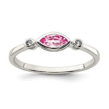 Sterling Silver Bezel Set Marquise Pink Tourmaline And White Topaz Ring
