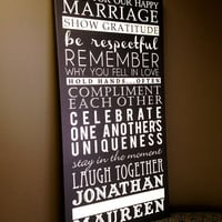 Rules for a Happy Marriage Customize with names and date STOCK  Wedding Sign Reception 20x40  inch