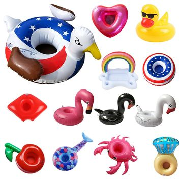 New Inflatable Swimming Pool Float Cup Drink Beer Holder Zwembad Table Bar Tray Summer Swimming Party Toys Beach Accessories