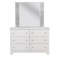 Standard Furniture Marilyn Youth 6 Drawer Dresser w/ Mirror in Glossy White
