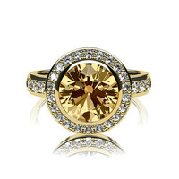 Diamond halo engagement ring with 2.48ct Yellow sapphire, white gold, yellow gold, yellow sapphire ring, engagement ring, bezel, unique