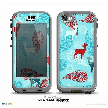 The Blue Fun Colored Deer Vector Skin for the iPhone 5c nüüd LifeProof Case