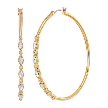 Rebecca Minkoff Large Hoops Earrings with Tri Stone Detail