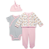 SKIP*HOP® Boho Feathers 4-Piece Take Me Home Pant Set with Hat in Pink