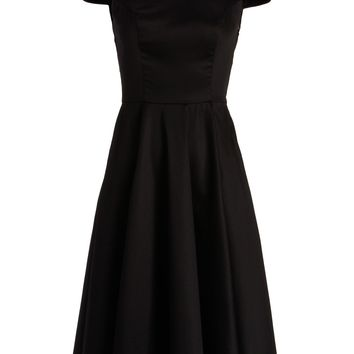Black 50's Pinup Retro Vintage Swing Dress with White Collar
