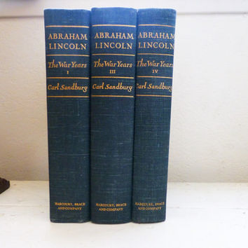 Abraham Lincoln the War Years by Carl Sandburg, History Books, student gift, teachers gift, vintage books, instant collection, hard cover