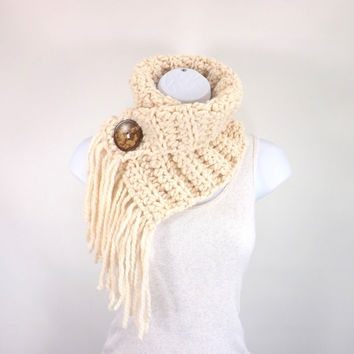 Fringed Chunky Scarf Cowl Neckwarmer with One Natural Coconut Shell Button  // The Geneva // in Fisherman