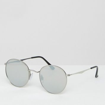 Jeepers Peepers Flat Lens Round Sunglasses with Silver Mirror Lens at asos.com