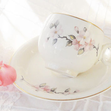 Antique Homer Laughlin Virginia Rose Teacup and Saucer, Cottage Style, Mid Century