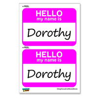 Dorothy Hello My Name Is - Sheet of 2 Stickers