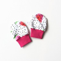 White no scratch mittens with black dots and watermelon, baby scratch mitts. Jersey cotton knit Baby Gift Girl Hand Covers. Baby shower gift