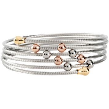 Stainless Steel Bangle Bracelet Wrap with Tri Color Gold Plated Ball Accents