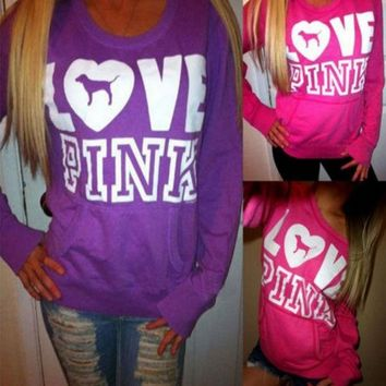 ONETOW Victoria's Secret LOVE PINK Women's Fashion Letter Print Round neck Long-sleeves Pullover Tops Sweater