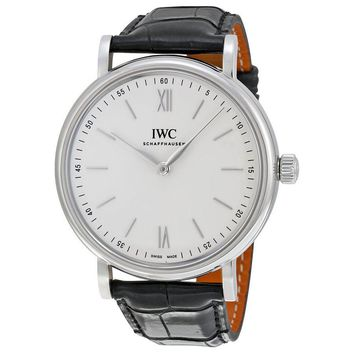IWC Portofino Silver Dial 18K Rose Gold Brown Alligator Mens Watch 5111-02