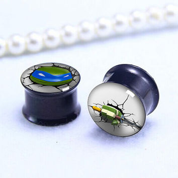 blue eyes TMNT  3D  ear Plug  , Black Screw on Gauge ear plugs , Black Titanium ear plugs ,0g,00g ,1/2, 9/16, 5/8, 3/4, 7/8,