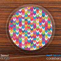 The Colorful Knitted Skinned Foam-Backed Coaster Set