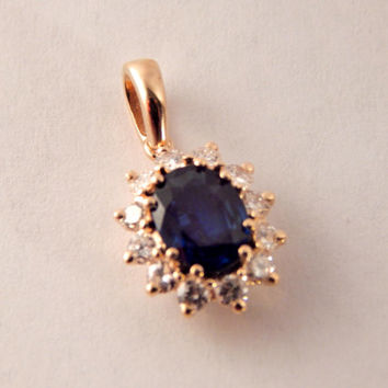 Sapphire and Diamond Pendant Vintage Fine Jewelry 14k Yellow Gold Blue Gemstone Regal Elegant Heirloom