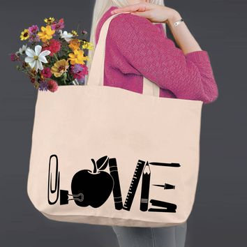 Teacher Love | Personalized Canvas Tote Bag