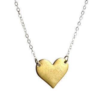 Single Brass Heart Necklace on sterling silver chain