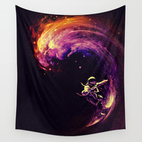 Space Surfing Wall Tapestry by Nicebleed