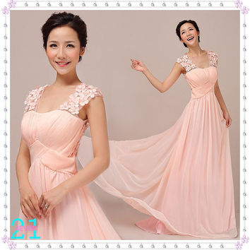Cheap Pink Evening Dresses, Long Chiffon Dresses, Sexy Prom Dresses, Sweetheart Chiffon Dresses, Cheap Bridesmaid Dresses
