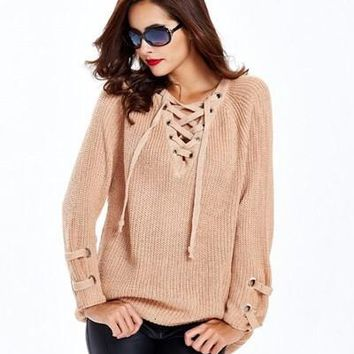 Lace Up Sweater - Beige