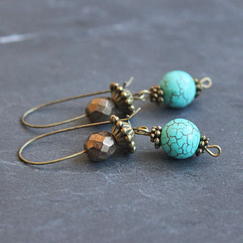 Boho Earrings with Turquoise // beaded dangle earrings - handmade boho jewelry for her - christmas gift for her