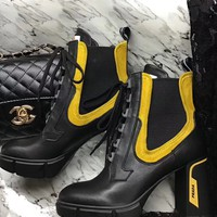 Prada Women Fashion Boots fashionable Casual leather Breathable Sneakers Running Shoes Sneak