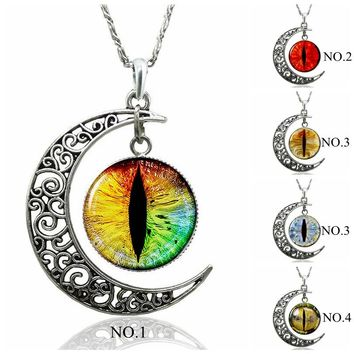Dragon Eye Necklace Crescent Moon Glass Cabochon Pendant Necklace Evil Eyes Jewelry Women Fashion