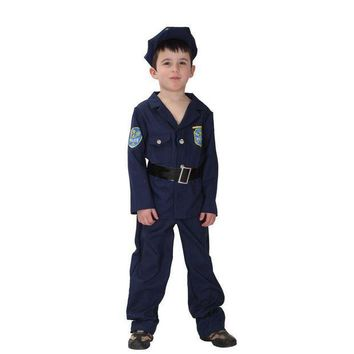 ESB6F Fantasia Boys Kids policeman Cosplay Halloween Officer uniforms Costumes for Children Carnival Christmas Purim Masquerade dress