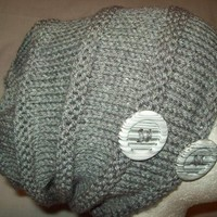 Gray Acrylic Knit Slouchy Hat with Buttons Big Hat Unisex Guys Gals