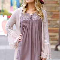 Double Zero Rose Lace Bell Sleeve Cardigan