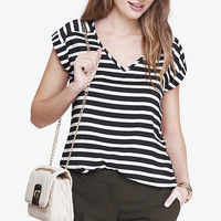 STRIPED V-NECK ROLLED SLEEVE BLOUSE from EXPRESS