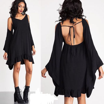 Black Cut-Out Trumpet Sleeve Ruffled Asymmetric Dress