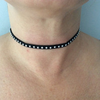 Silver Studded Thin Black Leather Choker Adjustable Necklace Trendy Jewelry Women's Collar chocker Goth Elegant Dressy