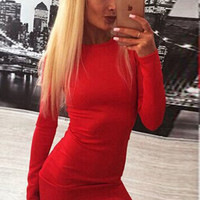 Red Back Zipper Long Sleeves Bodycon Mini Pencil Dress