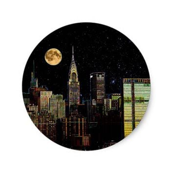 New York Skyline At Night With Full Moon Classic Round Sticker