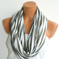 Striped Infinity Scarf, textile fabric ivory, beige Scarf,Loop Scarf,Circle Scarf,Cowl Scarf,Nomad Cowl....Striped Scarf