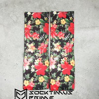 Hawaiian Flower Design - Custom Sublimated Socks - Socktimus Prime