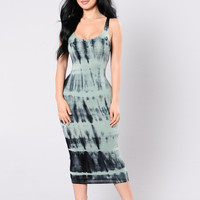 Tied In Dye Dress - Teal