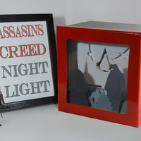 Assassin's Creed shadow box with light - Special night light, unique special gift, geek night light, video game night light